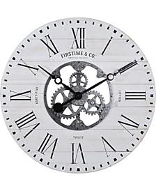 Shiplap Gears Wall Clock
