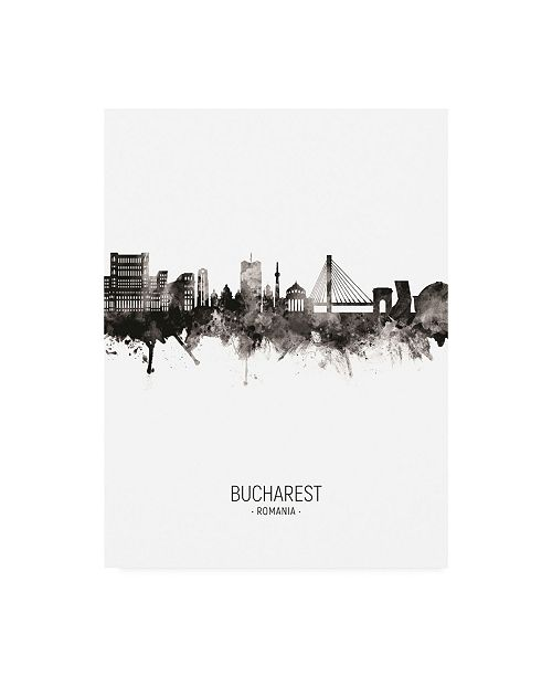 "Trademark Global Michael Tompsett Bucharest Romania Skyline Portrait II Canvas Art - 15.5"" x 21"""