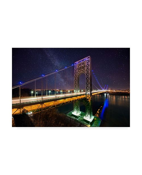 "Trademark Global David Ayash George Washington Bridge Starry Night Canvas Art - 27"" x 33.5"""