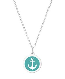 "Mini Anchor Pendant Necklace in Sterling Silver and Enamel, 16"" + 2"" Extender"