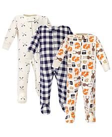 Hudson Baby Zipper Sleep N Play, Forest, 3 Pack, 0-3 Months