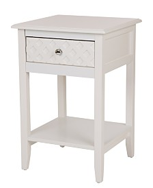 White Wooden End Table with 1 Drawer