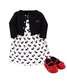 Hudson Baby Dress, Cardigan, Shoe Set, 3 Piece, Scottie Dog, 9-12 Months