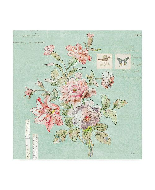 "Trademark Global Sue Schlabach Toile Roses III Blue Canvas Art - 15.5"" x 21"""