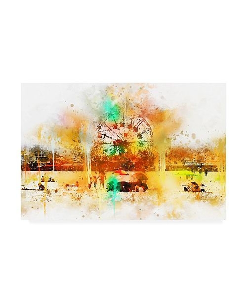 "Trademark Global Philippe Hugonnard NYC Watercolor Collection - Coney Island Canvas Art - 27"" x 33.5"""