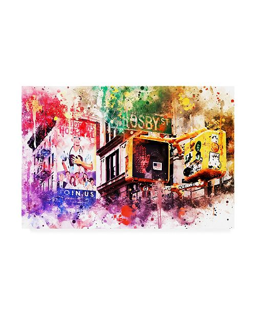 "Trademark Global Philippe Hugonnard NYC Watercolor Collection - Pedestrian Signal Canvas Art - 19.5"" x 26"""
