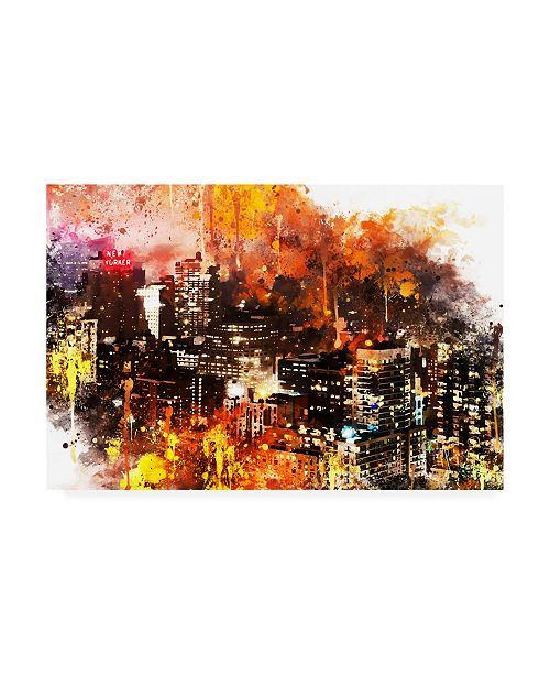 """Trademark Global Philippe Hugonnard NYC Watercolor Collection - Colorful Night Canvas Art - 27"""" x 33.5"""""""