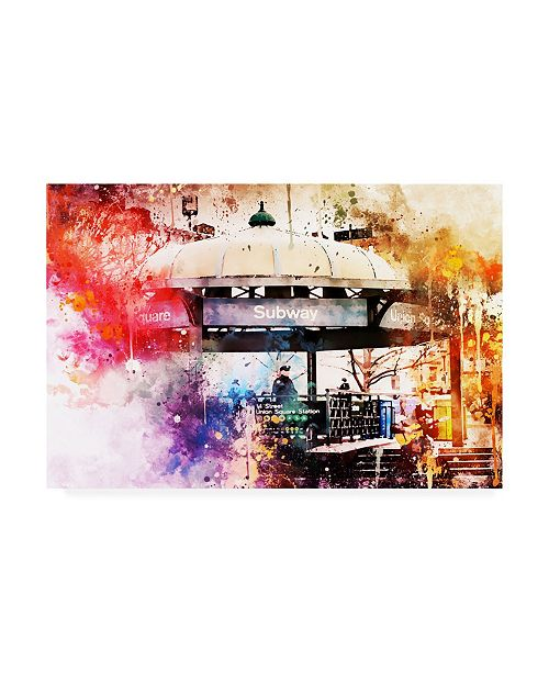 """Trademark Global Philippe Hugonnard NYC Watercolor Collection - Union Square Station Canvas Art - 36.5"""" x 48"""""""