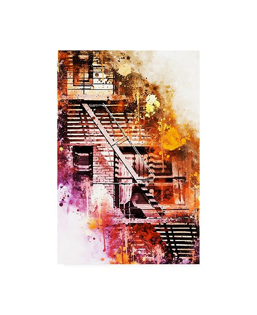 """Trademark Global Philippe Hugonnard NYC Watercolor Collection - Fire Escape Canvas Art - 15.5"""" x 21"""""""