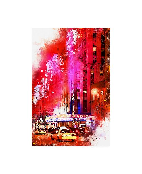 "Trademark Global Philippe Hugonnard NYC Watercolor Collection - Radio City Music Hall Canvas Art - 15.5"" x 21"""