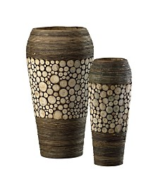Wood Slice Oblong Vases, Set of 2