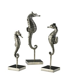 Seahorses on Stand Sculptures, Set of 3