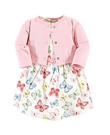 Organic Cotton Dress and Cardigan Set, Butterflies, 5 Toddler