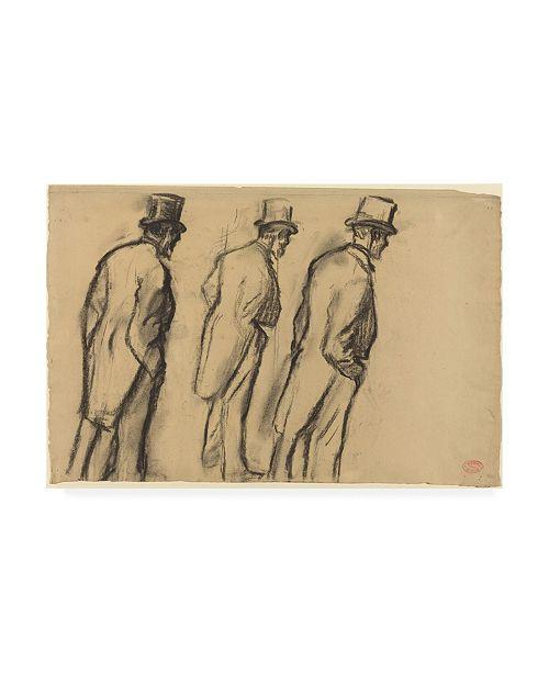 "Trademark Global Edgar Degas Three Studies of Ludovic Halevy Standing Canvas Art - 36.5"" x 48"""