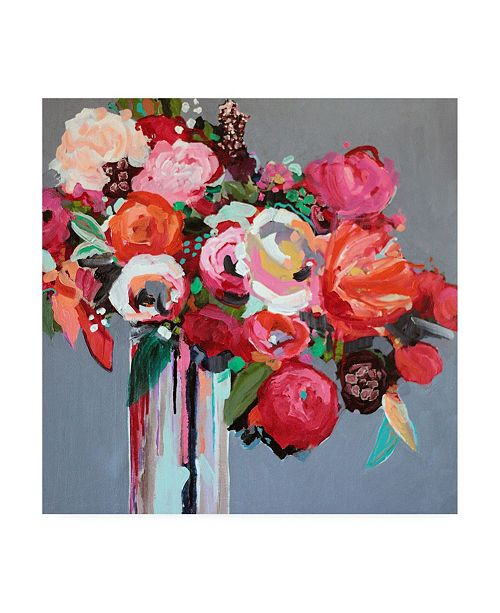 """Trademark Global Jacqueline Brewe Confetti Pink Floral Canvas Art - 36.5"""" x 48"""""""