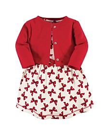 Touched by Nature Organic Cotton Dress and Cardigan Set, Bows, 3 Toddler