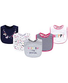 Cotton Drooler Bibs, 5 Pack, Happy Rainbow