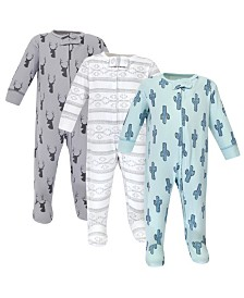 Yoga Sprout Zipper Sleep N Play, Cactus, 3 Pack, 0-3 Months