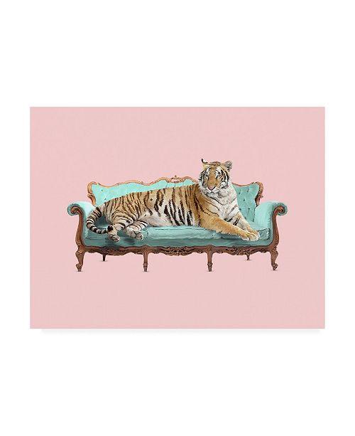 "Trademark Global Robert Farka Lazy Tiger Canvas Art - 36.5"" x 48"""