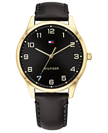 Tommy Hilfiger Men's Black Leather Strap Watch 44mm