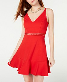Juniors' V-Neck Ruffle Hem Skater Dress