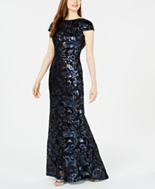 Calvin Klein Sequin Cowl-Back Gown