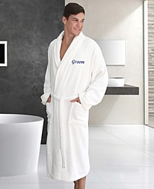 "Terry Bathrobe with Embroidered ""Groom"""
