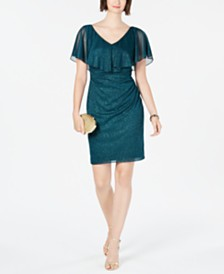 Connected Petite Metallic Glitter Popover Dress
