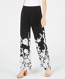 INC Floral-Print Wide-Leg Pants, Created for Macy's