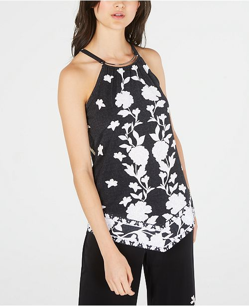 INC International Concepts INC Puff-Print Stretch Halter Top, Created for Macy's