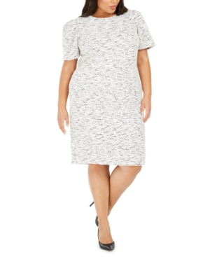 Plus Size Tweed Sheath Dress in Cream/Black