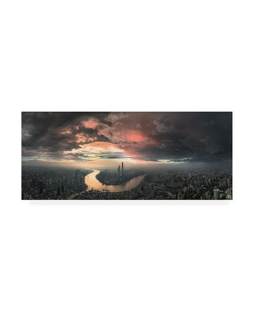 """Trademark Global Stan Huang The Bay Pink and Gray Canvas Art - 37"""" x 49"""""""