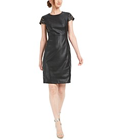Studded Faux-Leather Sheath Dress