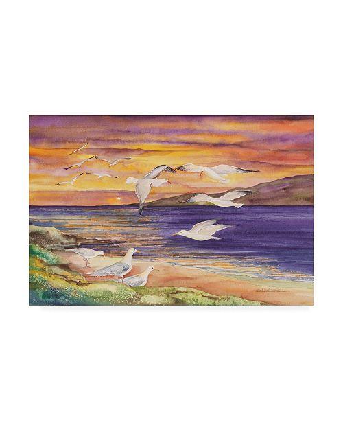 "Trademark Global Kathleen Parr Mckenna Seagull Sunset Beach Canvas Art - 15"" x 20"""