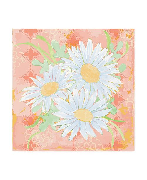 """Trademark Global Leslie Mark Daisy Patch Coral II Canvas Art - 27"""" x 33"""""""