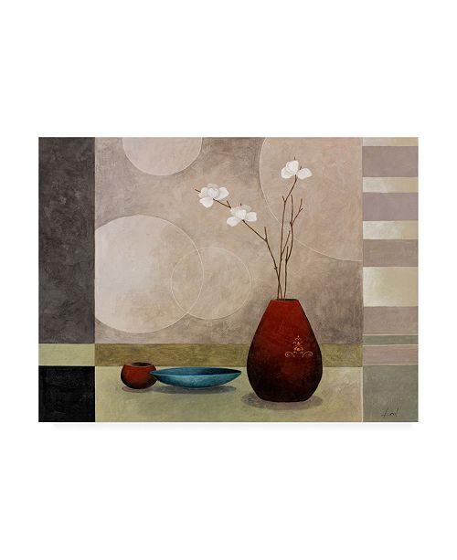 "Trademark Global Pablo Esteban Tall Branch Flowers in Red 1 Canvas Art - 19.5"" x 26"""