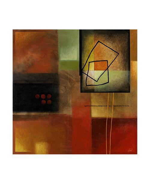"Trademark Global Pablo Esteban Line Art Over Gematric Pattern 2 Canvas Art - 15.5"" x 21"""