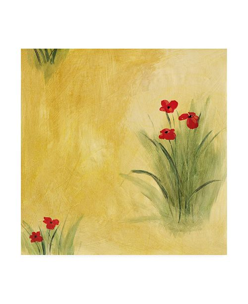"Trademark Global Pablo Esteban Red Flowers on Yellow Canvas Art - 36.5"" x 48"""