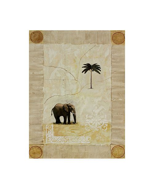 "Trademark Global Pablo Esteban Elephant Under Beige Paper 1 Canvas Art - 27"" x 33.5"""