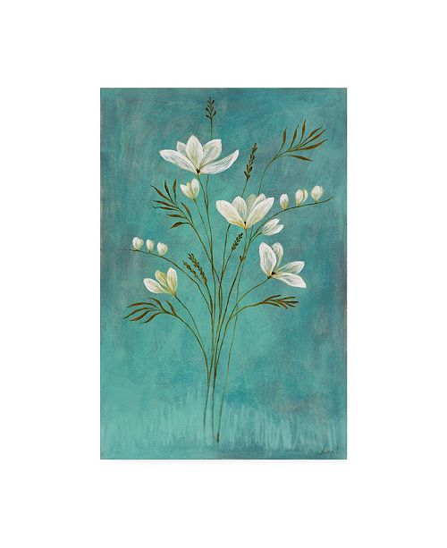 "Trademark Global Pablo Esteban White Flowers Over Blue 1 Canvas Art - 15.5"" x 21"""