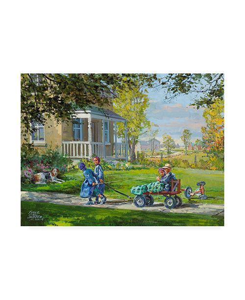"""Trademark Global Peter Snyder Playing Horse and Wagon Canvas Art - 19.5"""" x 26"""""""