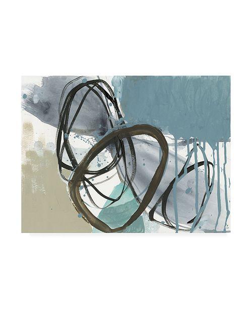 "Trademark Global Jennifer Goldberger Umber and Black on Blue I Canvas Art - 36.5"" x 48"""