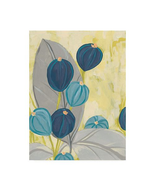 "Trademark Global June Erica Vess Navy & Citron Floral II Canvas Art - 27"" x 33.5"""