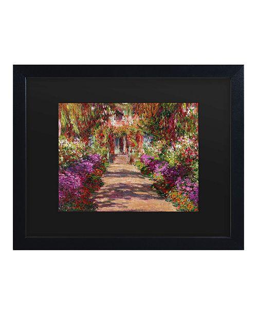 """Trademark Global Claude Monet A Pathway in Monet's Garden Matted Framed Art - 15"""" x 20"""""""