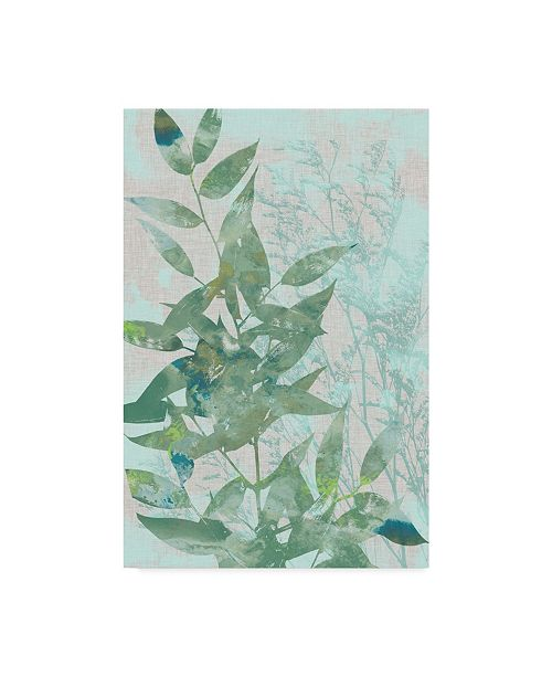 "Trademark Global Jennifer Goldberger Watercolor Leaf Panel I Canvas Art - 37"" x 49"""