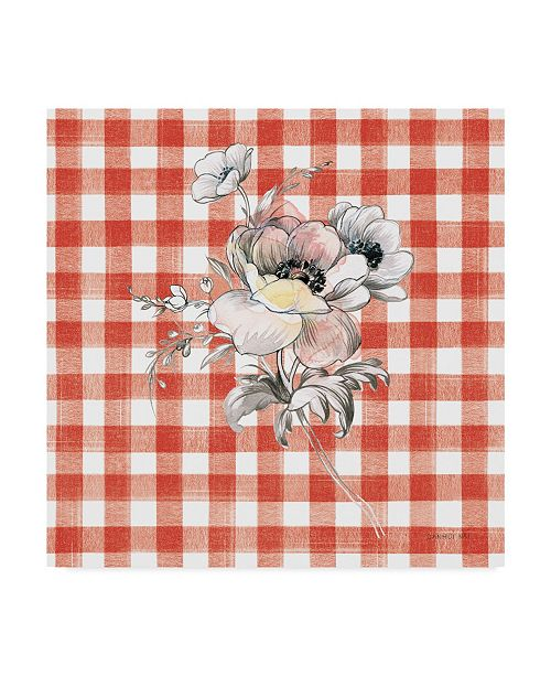"Trademark Global Danhui Nai Sketchbook Garden X Red Checker Canvas Art - 27"" x 33"""