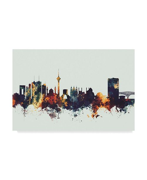 "Trademark Global Michael Tompsett Tehran Iran Skyline Dark IV Canvas Art - 20"" x 25"""