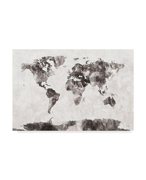 "Trademark Global Michael Tompsett Watercolor Map of the World Map Gray Canvas Art - 15"" x 20"""