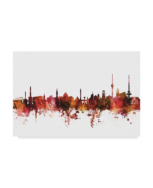 """Trademark Global Michael Tompsett Stuttgart Germany Skyline Red Canvas Art - 15"""" x 20"""""""
