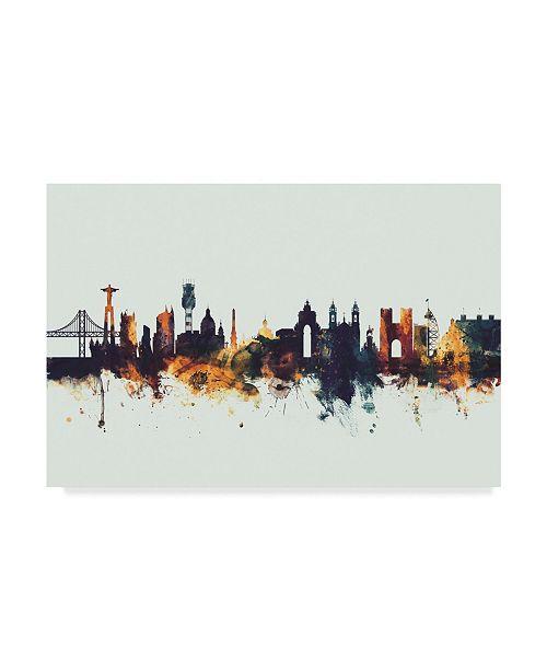 "Trademark Global Michael Tompsett Lisbon Portugal Skyline IV Canvas Art - 37"" x 49"""